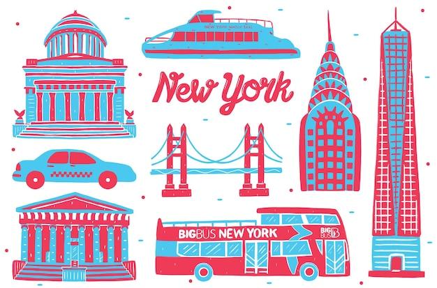 평면 디자인 스타일의 뉴욕 랜드마크