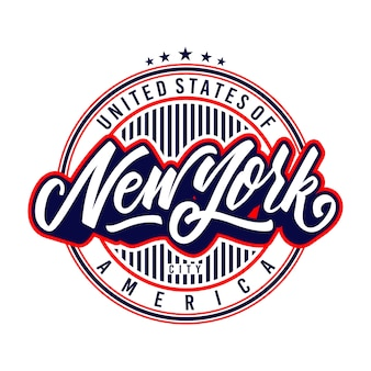 New york lettering badge