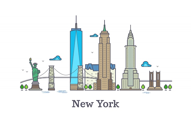 New york line vector symbol