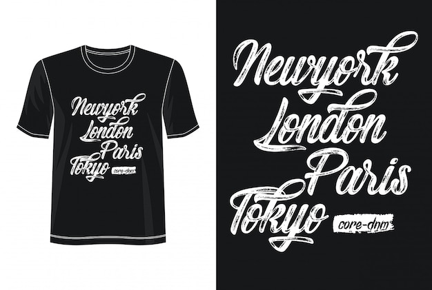New york london paris tokyo typography design t-shirt
