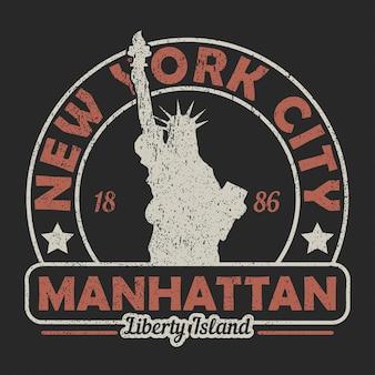 뉴욕 맨해튼 자유의 여신상 그런지 프린트 빈티지 도시 그래픽 티셔츠