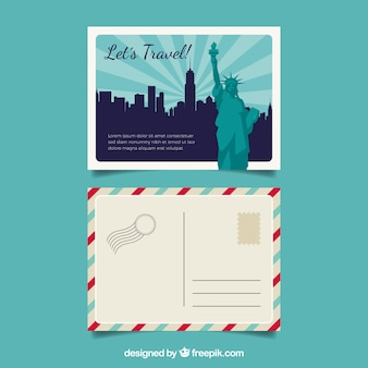 평면 디자인으로 뉴욕 엽서 템플릿