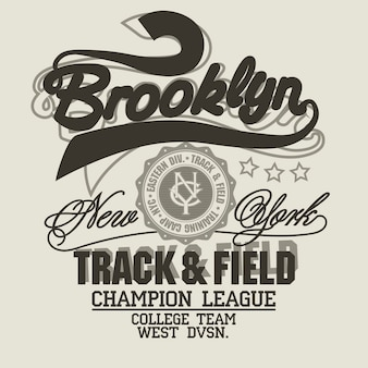 New york print, brooklyn sport wear typography emblem, t-shirt stamp graphics, tee print, athletic apparel design. vector