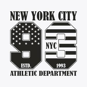 미국 국기 스타일의 숫자가 있는 뉴욕 인쇄. 디자인 옷, 티셔츠용 스탬프, 운동복 그래픽. 벡터 일러스트 레이 션.