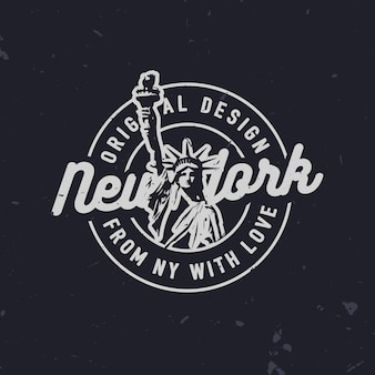New york related fashion t-shirt print with statue of liberty. trendy vintage new york badge.