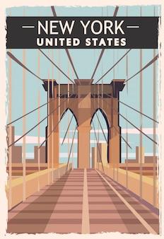 New york retro poster. usa new-york travel illustration. united states of america