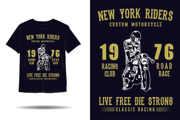 Дизайн футболки с классическим гоночным силуэтом на мотоцикле new york riders на заказ