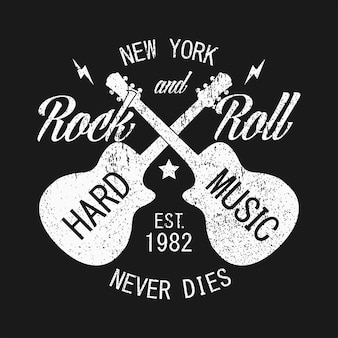 New york rock and roll grunge print for apparel with guitar typography emblem for tshirt