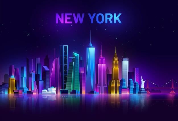 Горизонты нью-йорка америка ночной город освещенный неоновыми огнями городской пейзаж сша