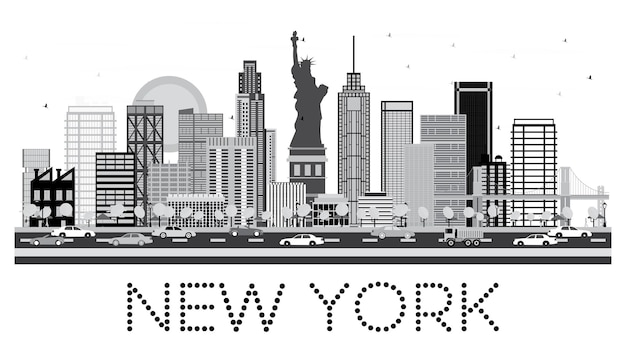 New york skyline in black and white color. vector illustration.