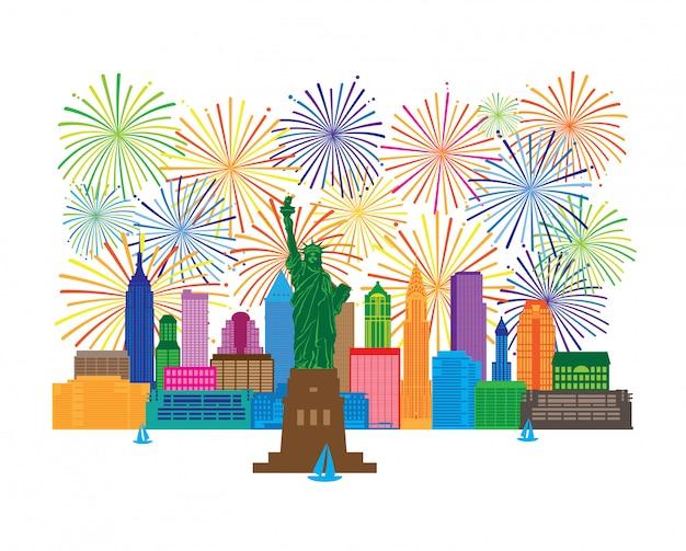 ニューヨークのスカイライン花火のイラスト