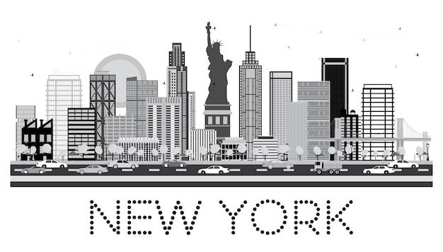 흑백 색상의 뉴욕 스카이라인. 벡터 일러스트 레이 션.