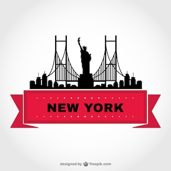New york skyline and red ribbon