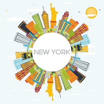 New york skyline with color buildings, blue sky and copy space. vector illustration. business travel and tourism concept with modern architecture. image for presentation banner placard and web site.