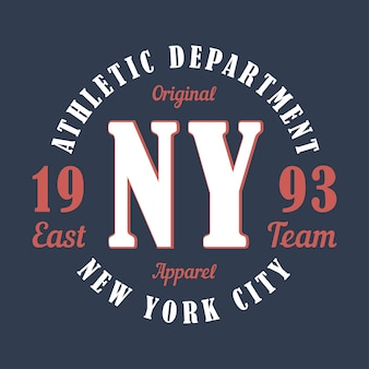 New york sports apparel typography emblem for tshirt design for athletic clothes print