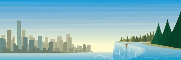 Достопримечательности штата нью-йорк и пейзажная сцена