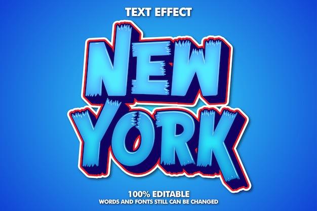 내부 글로우가있는 뉴욕 스티커, 파란색 및 빨간색 3d 글꼴