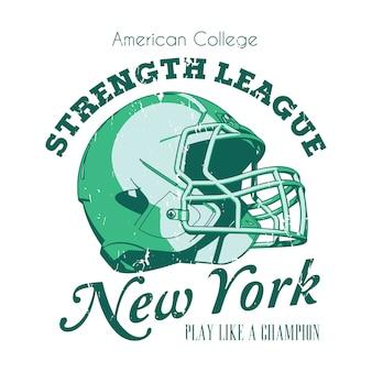 Il poster della new york strength league con le parole gioca come un'illustrazione di un campione