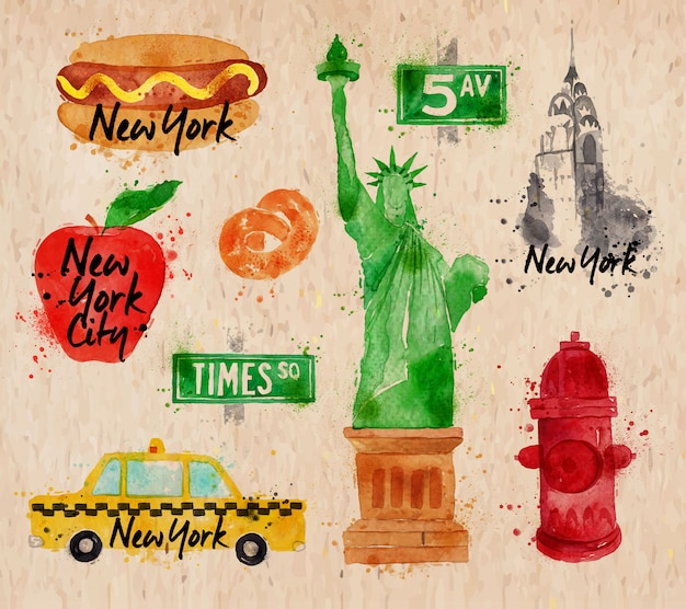New york symbols watercolor