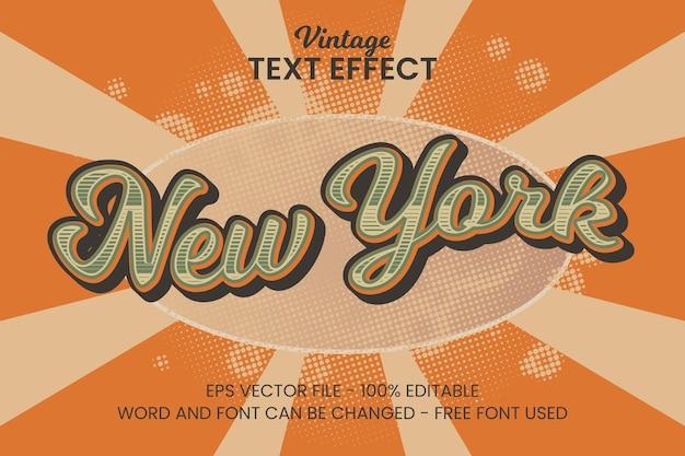 Стиль текстового эффекта нью-йорка редактируемый текстовый эффект винтажная тема