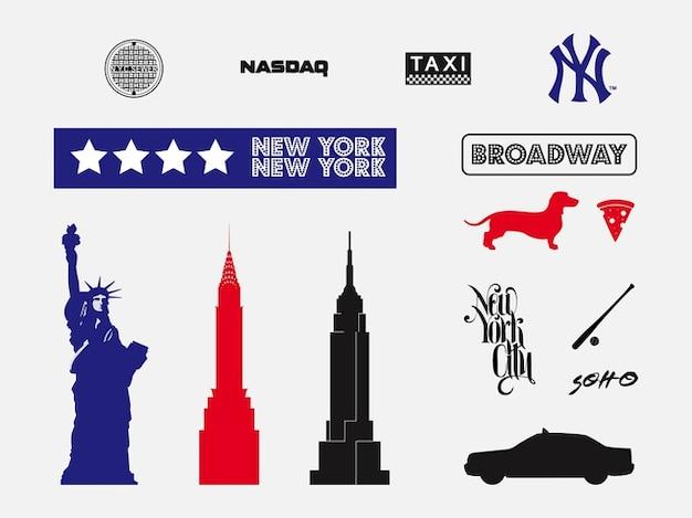 New york tourism vectors silhouette