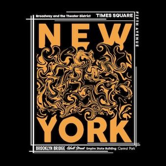 Нью-йорк футболка и графический дизайн плаката в абстрактном стиле векторные иллюстрации
