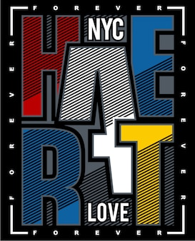 New york typography art, graphic illustration