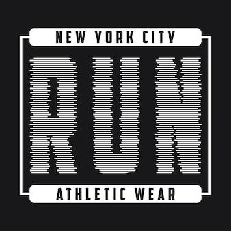 달리기를 위한 뉴욕 타이포그래피 그래픽 달리기 운동복의 티셔츠 디자인을 위한 인쇄