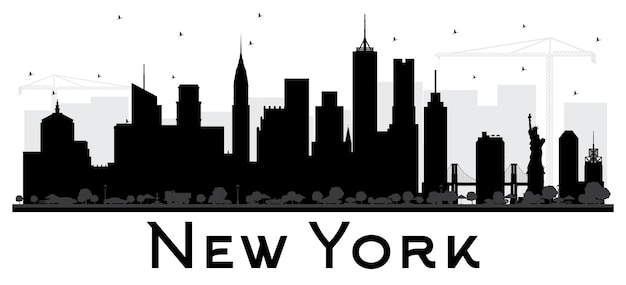 뉴욕 미국 도시 스카이 라인 흑백 실루엣입니다. 벡터 일러스트 레이 션. 관광 프레젠테이션, 배너, 현수막 또는 웹 사이트를 위한 단순한 평면 개념입니다. 비즈니스 여행 개념입니다. 랜드마크가 있는 도시 풍경.