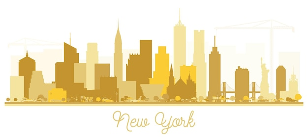 New york usa city skyline golden silhouette. vector illustration. simple flat concept for tourism presentation, banner, placard or web site. business travel concept. new york cityscape with landmarks.