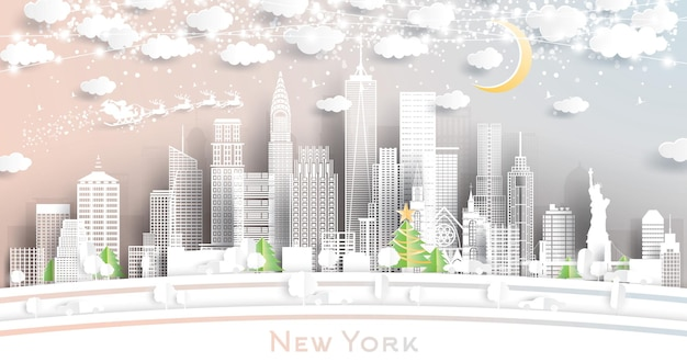 New york usa city skyline in paper cut style with snowflakes, moon and neon garland.  christmas and new year concept. santa claus on sleigh.