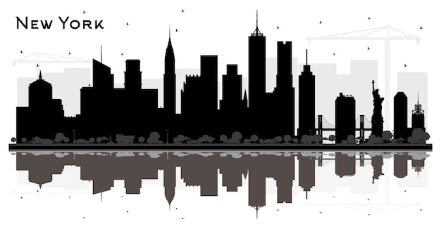 New york usa city skyline silhouette with black buildings and reflections isolated on white. vector illustration. business travel and tourism concept. new york cityscape with landmarks.