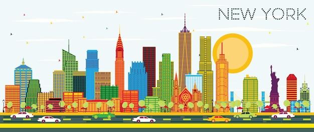 컬러 고층 빌딩과 푸른 하늘이 있는 미국 뉴욕시의 스카이라인. 벡터 일러스트 레이 션. 현대 건축과 비즈니스 여행 및 관광 개념입니다. 랜드마크가 있는 뉴욕의 풍경.
