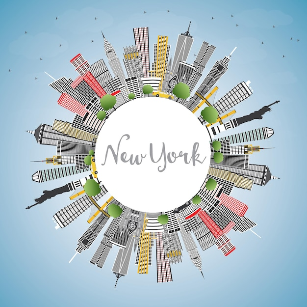 회색 고층 빌딩, 푸른 하늘 및 복사 공간이 있는 뉴욕 미국 도시의 스카이라인. 벡터 일러스트 레이 션. 현대 건축과 비즈니스 여행 및 관광 개념입니다. 랜드마크가 있는 뉴욕의 풍경.