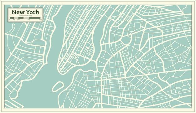 レトロなスタイルのニューヨークusaマップ。ベクトルイラスト。