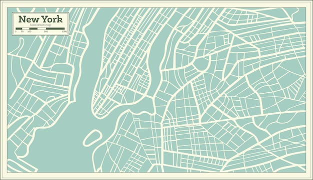 New york usa map in retro style. vector illustration.