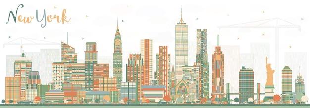 컬러 고층 빌딩이 있는 미국 뉴욕 스카이라인. 벡터 일러스트 레이 션. 현대 건축과 비즈니스 여행 및 관광 개념입니다.