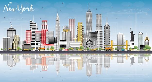 회색 건물, 푸른 하늘 및 반사가 있는 뉴욕 미국 스카이라인. 벡터 일러스트 레이 션. 현대 건축과 비즈니스 여행 및 관광 개념입니다.