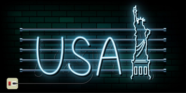 New york and usa travel and journey neon light background
