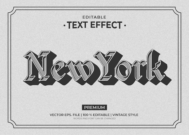 뉴욕 빈티지 스타일 편집 가능한 텍스트 효과