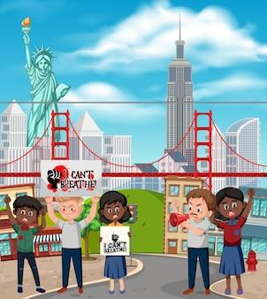 人種差別に対するニューヨーカーの抗議