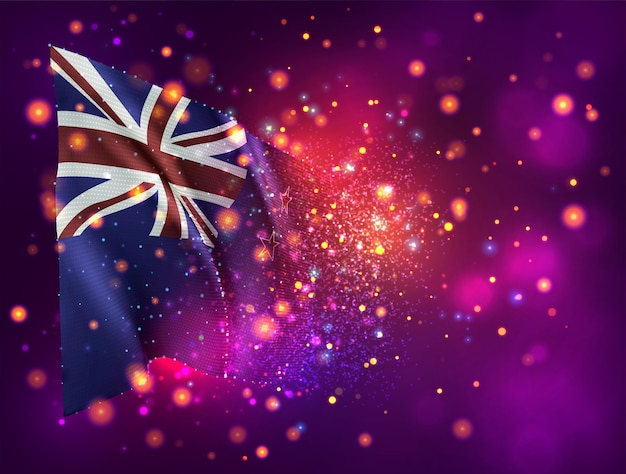 New zealand, 3d flag on pink purple background with lighting and flares