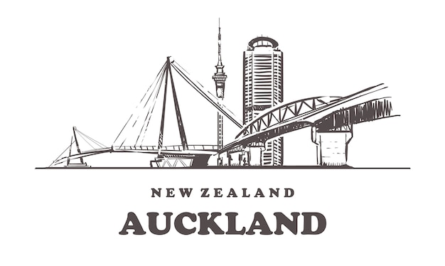New zealand, auckland hand-drawn architecture