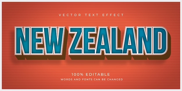 New zealand country text effect Premium Vector