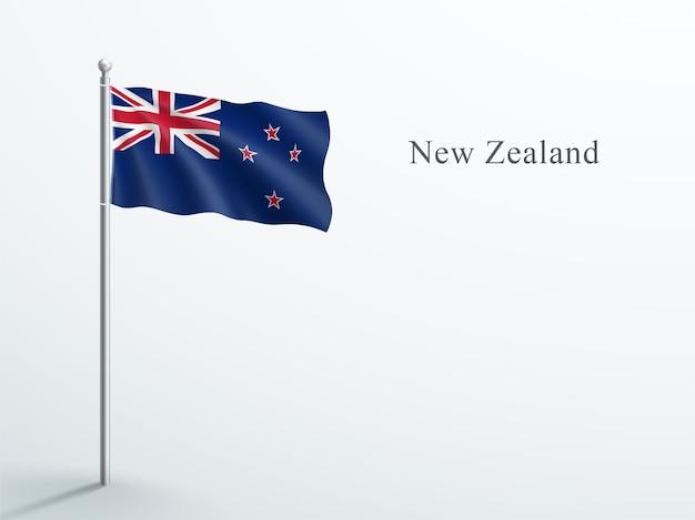 New zealand flag 3d element waving on steel flagpole