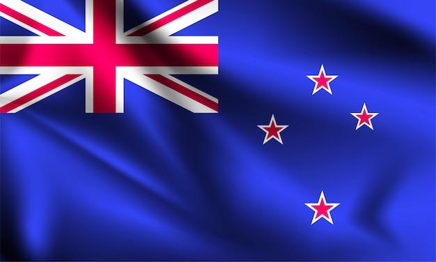 Флаг новой зеландии, дует ветер. часть серии. новая зеландия машет флагом.