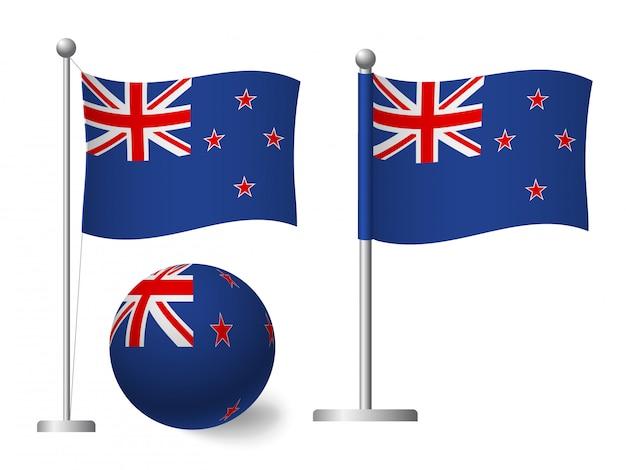 Флаг новой зеландии на значок полюса и мяча