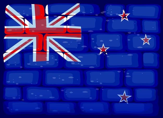 Bandiera della nuova zelanda dipinta su un muro di mattoni