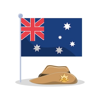 New zealand flag and soldier hat