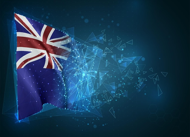 New zealand,  flag, virtual abstract 3d object from triangular polygons on a blue background